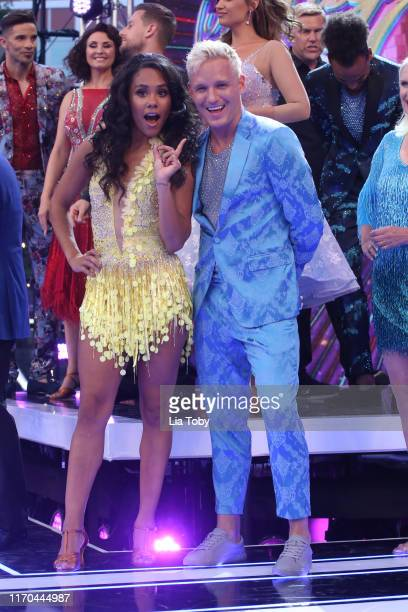 "Alex Scott and Jamie Laing attend the ""Strictly Come Dancing"" launch show red carpet at Television Centre on August 26, 2019 in London, England."