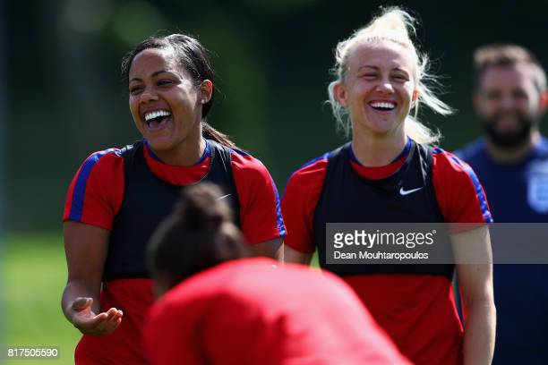 Alex Scott and Laura Bassett of the England women's national team in action during a training session on the eve of their UEFA Women's 2017 Group D...