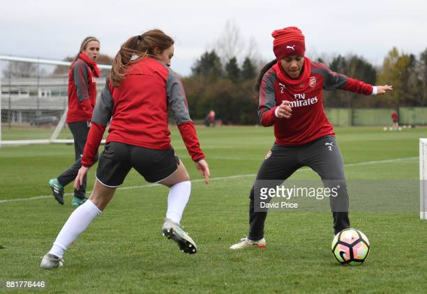 Alex Scott and Lisa Evans of Arsenal Women during the Arsenal Womens Training Session at London Colney on November 29 2017 in St Albans England