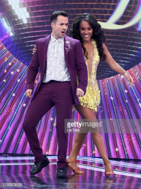 "Alex Scott and Will Bayley on stage at the ""Strictly Come Dancing"" launch show red carpet at Television Centre on August 26, 2019 in London, England."