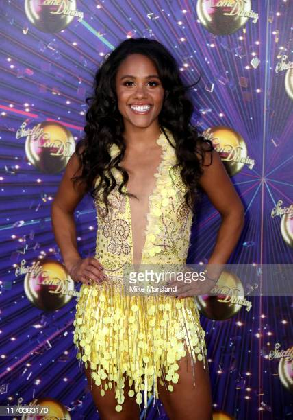 "Alex Scott attends the ""Strictly Come Dancing"" launch show red carpet at Television Centre on August 26, 2019 in London, England."