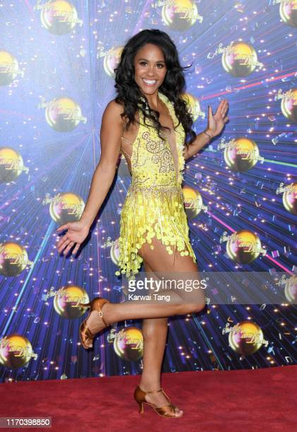 "Alex Scott attends the ""Strictly Come Dancing"" launch show red carpet arrivals at Television Centre on August 26, 2019 in London, England."