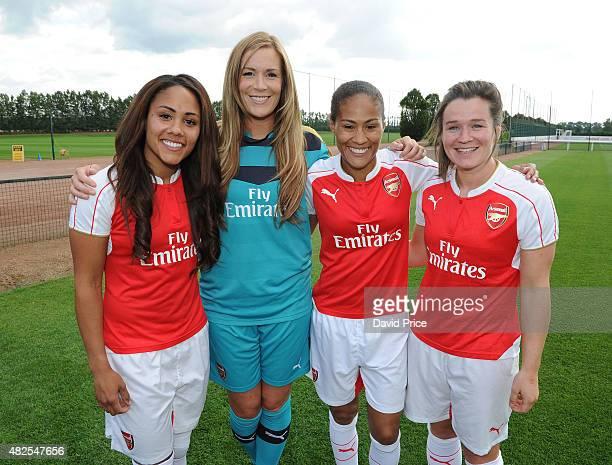 Alex Scott Emma Byrne Rachel Yankey and Emma Mitchell of Arsenal Ladies at London Colney on July 30 2015 in St Albans England