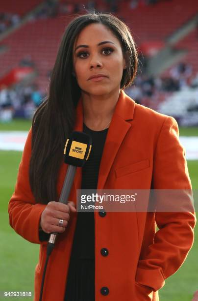 Alex Scott Ex England player during 2019 FIFA Women's World Cup Group 1 qualifier match between England and Wales at StMary's Southampton FC...