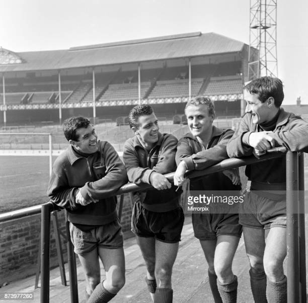 Alex Scott Fred Pickering Alex Young and Derek Temple on the terraces of Everton FC after training 11th March 1964