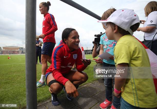 Alex Scott meets some fans during the England training session on July 15 2017 in Utrecht Netherlands