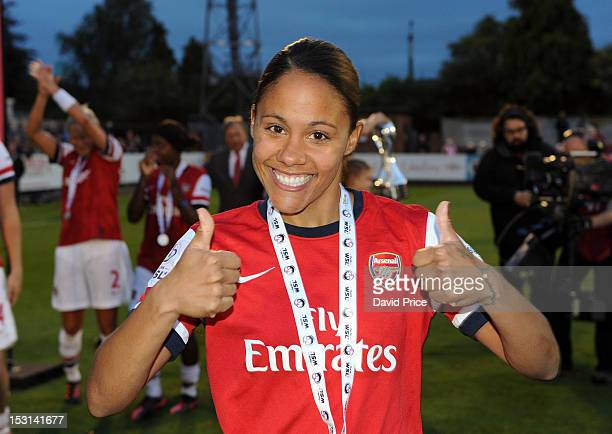 Alex Scott of Arsenal celebrates after the FA Women's Super League match between Arsenal Ladies FC and Doncaster Rovers Belles Ladies FC at Meadow...