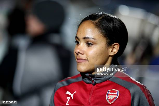 Alex Scott of Arsenal Ladies during the WSL Continental Cup Final between Arsenal Women and Manchester City Ladies at Adams Park on March 14 2018 in...