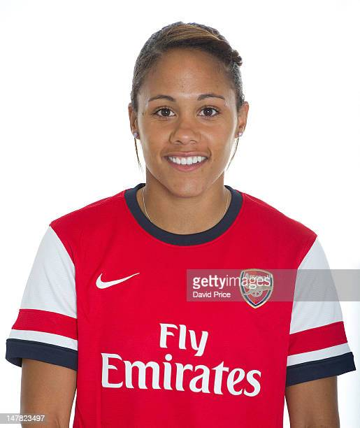 Alex Scott of Arsenal Ladies poses for a headshot during the ladies photocall at Emirates Stadium on July 3 2012 in London England