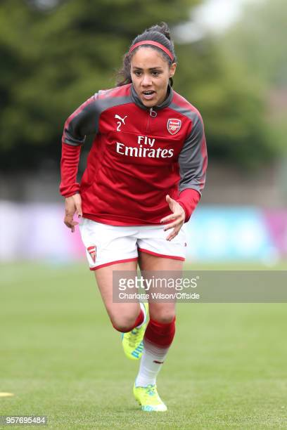 Alex Scott of Arsenal warms up ahead of the Womens Super League match between Arsenal Ladies and Manchester City Women at Meadow Park on May 12 2018...