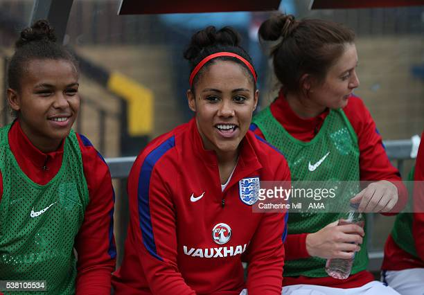 Alex Scott of England before the UEFA Women's European Championship Qualifier match between England and Serbia at Adams Park on June 4 2016 in High...