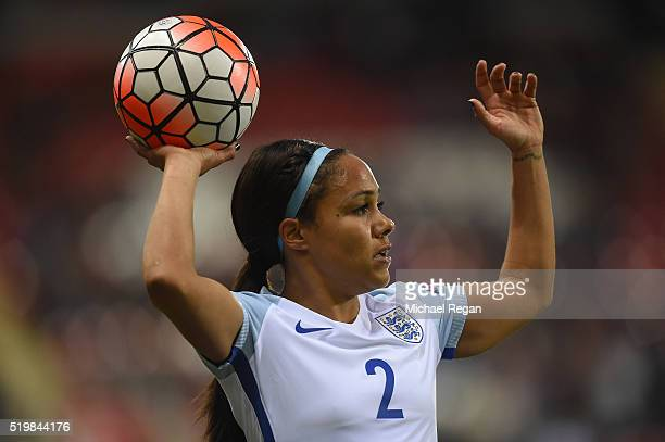 Alex Scott of England in action during the UEFA Women's European Qualifer between England and Belgium at The New York Stadium on April 8 2016 in...