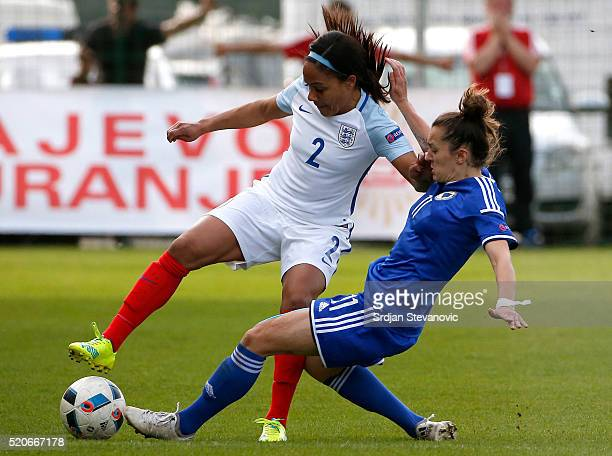 Alex Scott of England is challenged by Lidija Kulis of Bosnia during the UEFA Women's European Championship Qualifier match between Bosnia and...