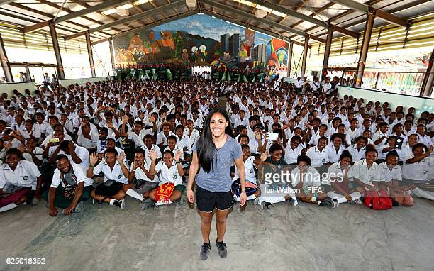 Alex Scott of England is pictured during a trip to Gerehu Secondary school To support the #ENDviolence initiative to end domestic violence with the...
