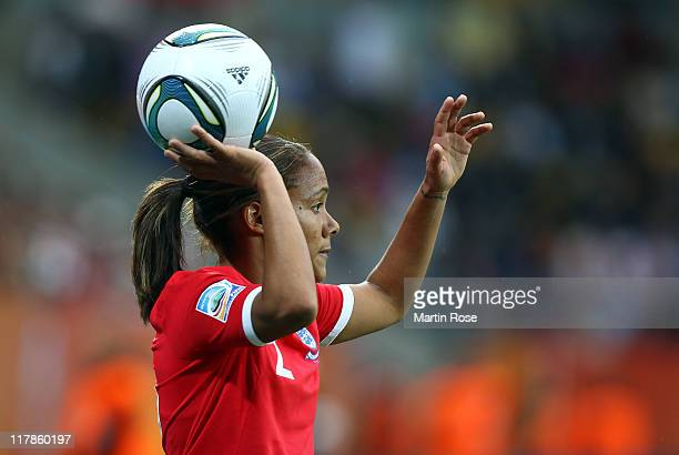 Alex Scott of England throws the ball during the FIFA Women's World Cup 2011 Group B match between New Zealand and England at RudolfHarbigStadion on...