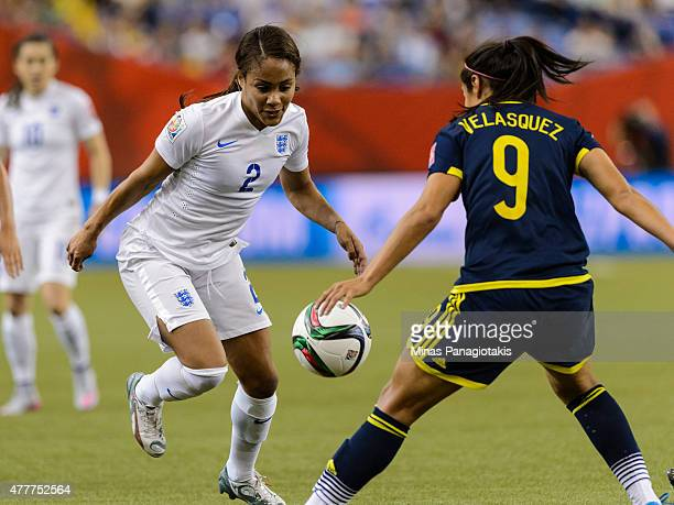 Alex Scott of England tries to move the ball past Orianica Velasquez of Colombia during the 2015 FIFA Women's World Cup Group F match at Olympic...