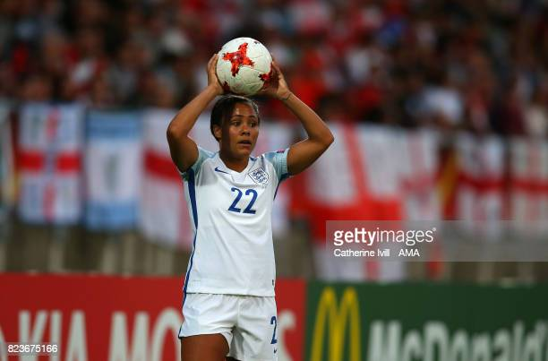 Alex Scott of England Women takes a throw in during the UEFA Women's Euro 2017 match between Portugal and England at Koning Willem II Stadium on July...