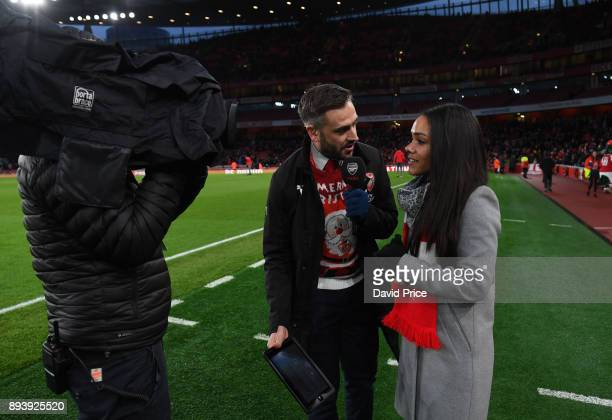 Alex Scott of the Arsenal Women is interviewed at half time by Nigel Mitchell the Premier League match between Arsenal and Newcastle United at...