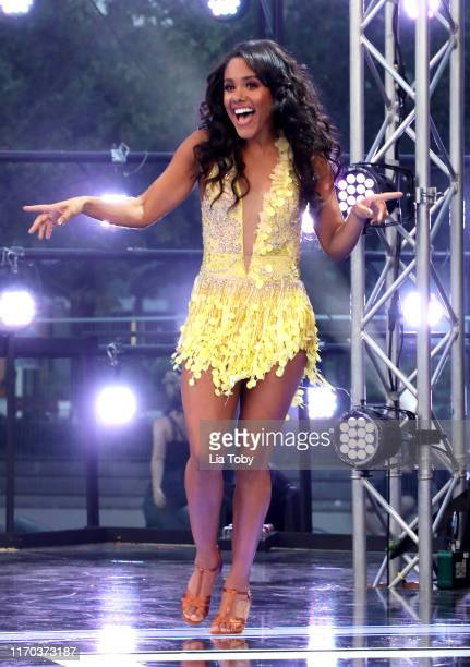 "Alex Scott on stage at the ""Strictly Come Dancing"" launch show red carpet at Television Centre on August 26, 2019 in London, England."