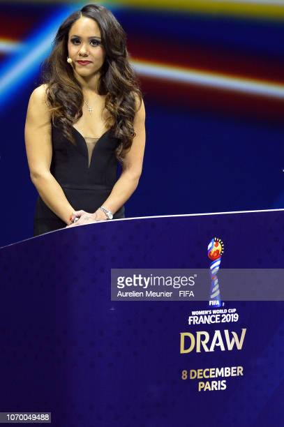 Alex Scott on stage during the FIFA Women's World Cup France 2019 Draw at La Seine Musicale on December 8 2018 in Paris France