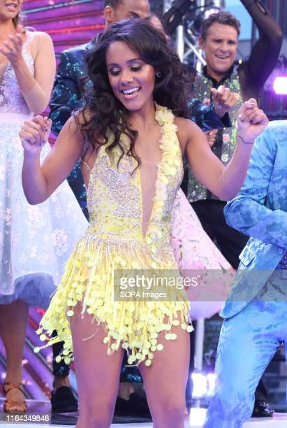 Alex Scott onstage during the BBC Strictly Come Dancing Launch at Broadcasting House in London.
