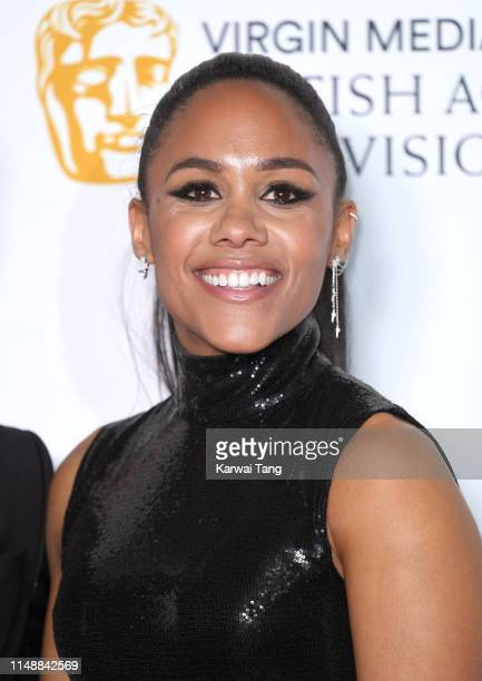 Alex Scott poses in the Press Room at the Virgin TV BAFTA Television Award at The Royal Festival Hall on May 12 2019 in London England