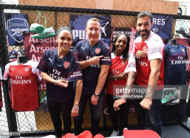 Alex Scott Ray Parlour Danielle Carter and Robert Pires at the launch of the Arsenal away kit at Leicester Square on June 7 2018 in London England