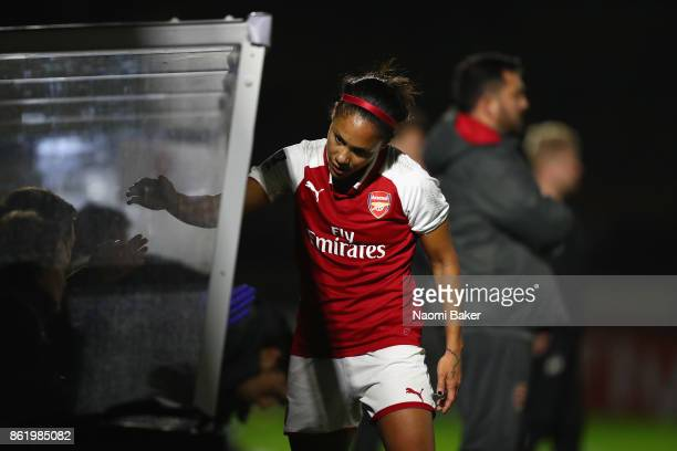 Alex Scott shakes hands with teammates during the FA Women's Super League Continental Cup match between Arsenal and London Bees on October 12 2017 in...