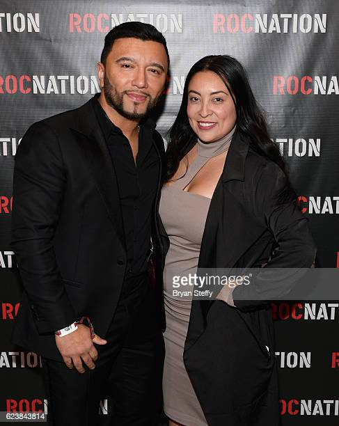 Alex Sensation and Roc Nation Latino General Manager Evette Medina attend the Roc Nation Latin Grammy Midnight Brunch at the Nobu Hotel Caesars...