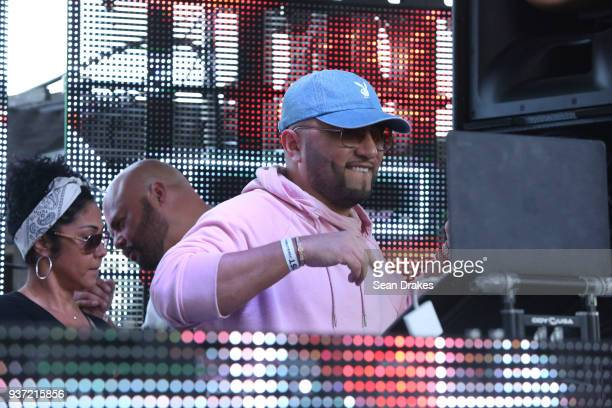 Alex Sensation performs during the Chuckie Friends Party hosted by 935FM Revolution Radio Miami as part of Miami Music Week at the National Hotel on...