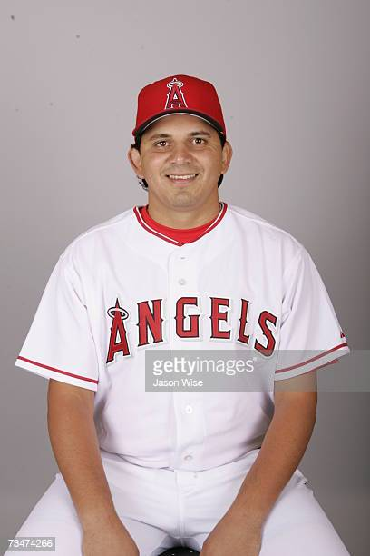 Alex Serrano of the Los Angeles Angels of Anaheim poses during photo day at Tempe Diablo Stadium on February 22 2007 in Tempe Arizona