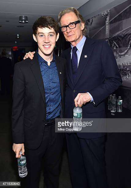 Alex Sharp and Bill Nighy attend the 2015 Tony Awards Meet The Nominees Press Reception at the Paramount Hotel on April 29 2015 in New York City