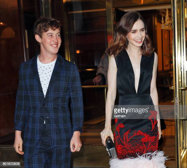 Alex Sharp and Lily Collins attend a private event to honor Anna Wintour being appointed a Dame Commander of the Order of the British Empire on June...