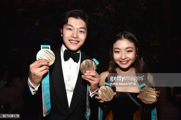 Alex Shibutani and Maia Shibutani attend the 2018 Vanity Fair Oscar Party hosted by Radhika Jones at Wallis Annenberg Center for the Performing Arts...