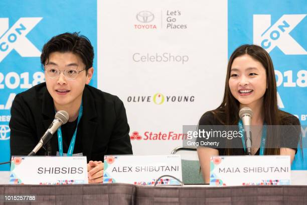 Alex Shibutani and Maia Shibutani attend the KCON 2018 LA meet greet at Los Angeles Convention Center on August 11 2018 in Los Angeles California