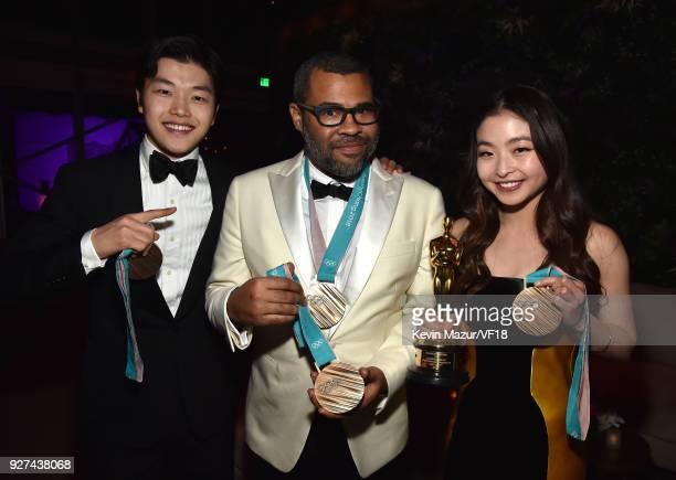 Alex Shibutani Jordan Peele and Maia Shibutani attend the 2018 Vanity Fair Oscar Party hosted by Radhika Jones at Wallis Annenberg Center for the...