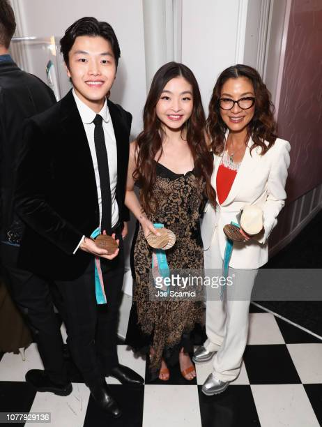 Alex Shibutani Maia Shibutani and Michelle Yeoh attend The 6th Annual 'Gold Meets Golden' Brunch hosted by Nicole Kidman and Nadia Comaneci and...