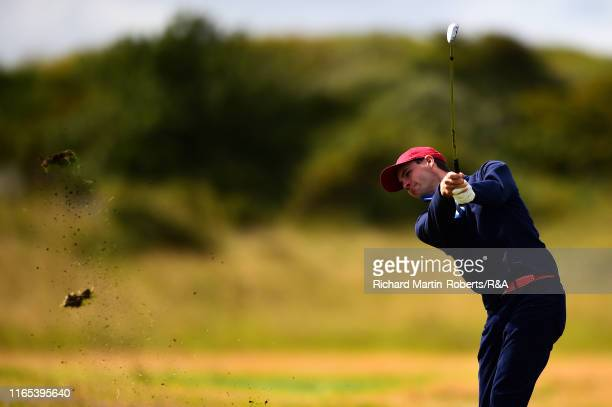 Alex Smalley of the United States hits an approach shot during a practice round at Royal Birkdale Golf Club prior to the 2019 Walker Cup on September...