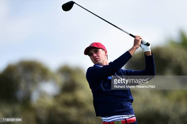 Alex Smalley of the United States tees off on the 2nd hole during a practice round at Royal Birkdale Golf Club prior to the 2019 Walker Cup on...