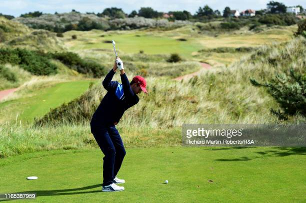 Alex Smalley of the United States tees off on the 3rd hole during a practice round at Royal Birkdale Golf Club prior to the 2019 Walker Cup on...