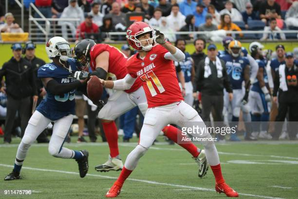 Alex Smith of the Kansas City Chiefs attempts a pass during the NFL Pro Bowl between the AFC and NFC at Camping World Stadium on January 28 2018 in...
