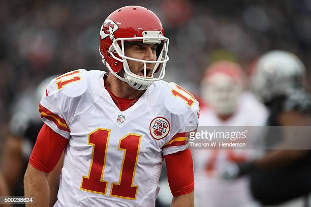 Alex Smith of the Kansas City Chiefs celebrates after a threeyard touchdown against the Oakland Raiders during their NFL game at Oco Coliseum on...