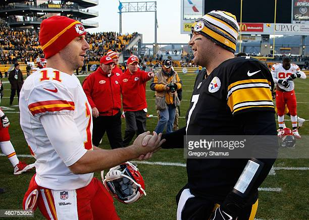 Alex Smith of the Kansas City Chiefs congratulates Ben Roethlisberger of the Pittsburgh Steelers after Pittsburgh's 2012 win at Heinz Field on...