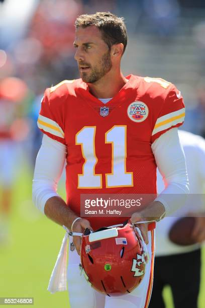 Alex Smith of the Kansas City Chiefs is seen before the game against the Los Angeles Chargers at the StubHub Center on September 24 2017 in Carson...
