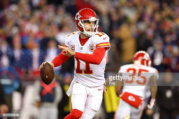 Alex Smith of the Kansas City Chiefs looks to pass against the New England Patriots during the AFC Divisional Playoff Game at Gillette Stadium on...
