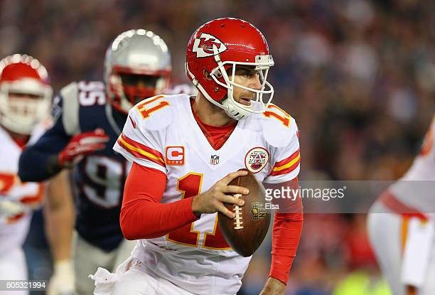 Alex Smith of the Kansas City Chiefs looks to pass in the second half against the New England Patriots during the AFC Divisional Playoff Game at...