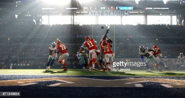 Alex Smith of the Kansas City Chiefs lthrows against the Dallas Cowboys during the first half at ATT Stadium on November 5 2017 in Arlington Texas...