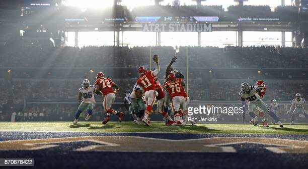 Alex Smith of the Kansas City Chiefs passes against the Dallas Cowboys during the first half at ATT Stadium on November 5 2017 in Arlington Texas The...