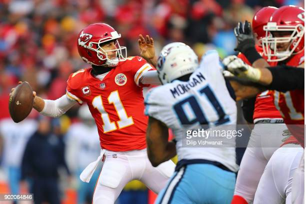 Alex Smith of the Kansas City Chiefs passes against the Tennessee Titans during the AFC Wild Card playoff game at Arrowhead Stadium on January 6 2018...