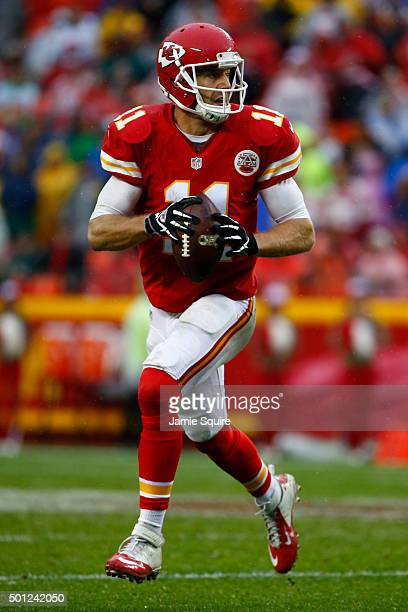 Alex Smith of the Kansas City Chiefs runs from the pocket at Arrowhead Stadium during the third quarter of the game against the San Diego Chargers on...